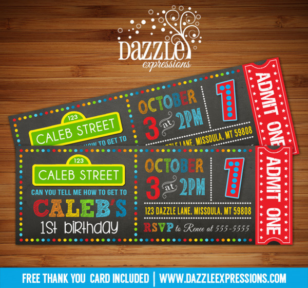 Sesame Street Inspired Chalkboard Ticket Birthday Invitation Free Thank You Card Included