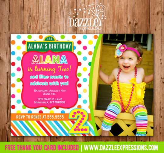 Colorful Street Sign Birthday Invitation 7 - FREE Thank You Card Included