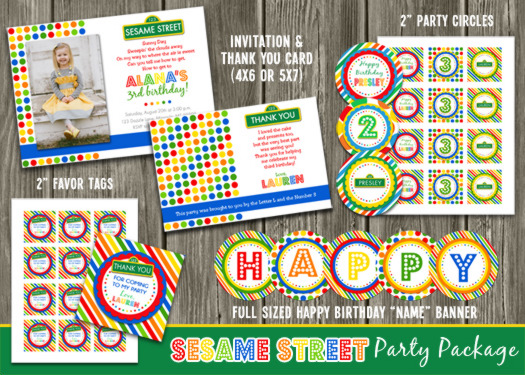 Sesame Street Inspired Complete Party Package - Printable