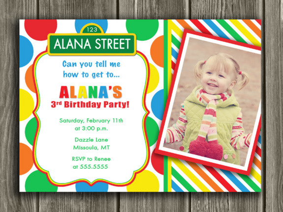 Colorful Street Sign Birthday Invitation 5 - Thank You Card included