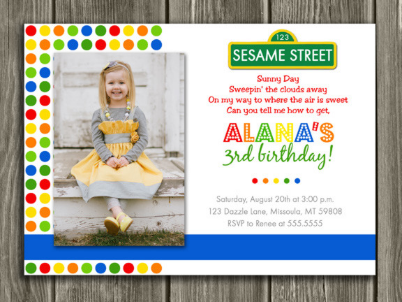 Colorful Street Sign Birthday Invitation 4 - Thank You Card included