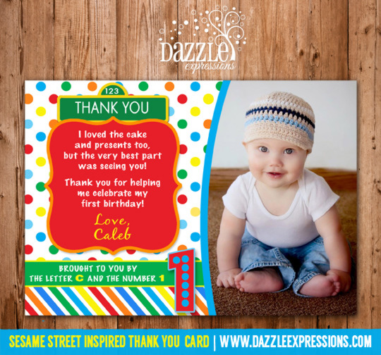 Sesame Street Inspired Thank You Card