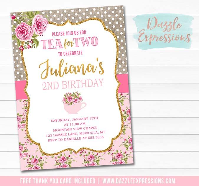Tea Party Invitation 5 - FREE thank you card