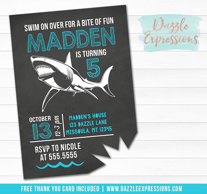 Shark Chalkboard Birthday Invitation 2 - FREE thank you card
