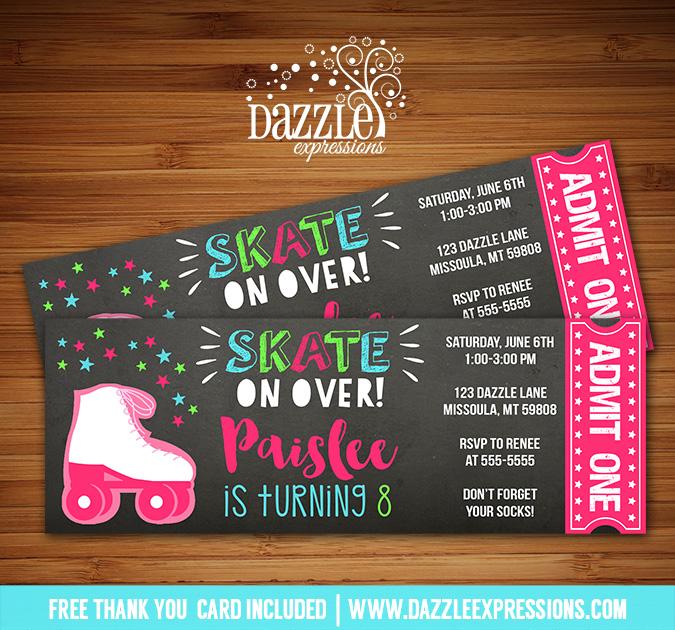 Roller Skating Chalkboard Ticket Invitation 3 - FREE thank you card