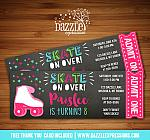 Roller Skating Chalkboard Ticket Invitation 3 - FREE thank you card