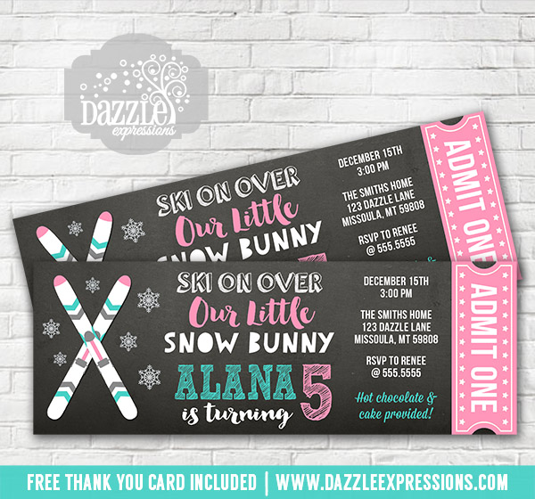 Printable Skiing Chalkboard Ticket Birthday Invitation Kids Apres