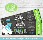 Skiing Chalkboard Ticket Invitation - FREE thank you card included