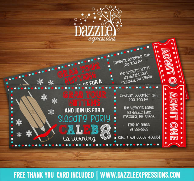 Sledding Chalkboard Ticket Birthday Invitation - FREE thank you card included