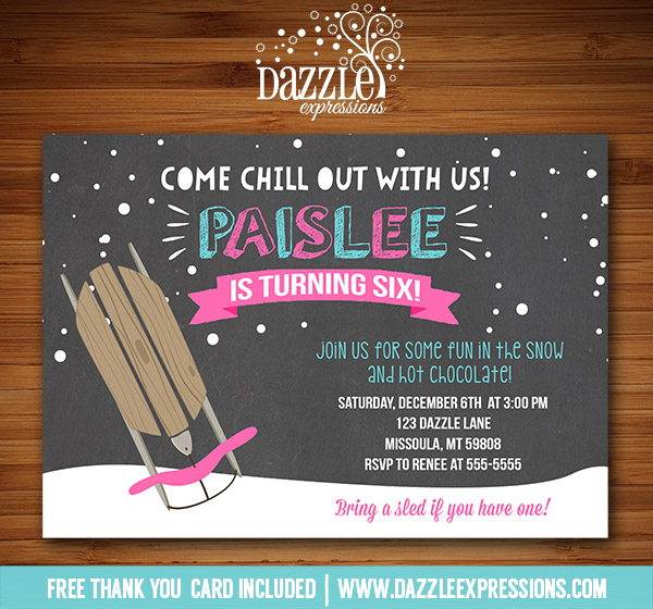 printable winter sledding chalkboard birthday invitation