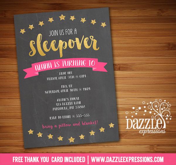 Printable Girl Sleepover Birthday Invitation Slumber