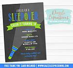 Sleepover Chalkboard Invitation 2 - FREE thank you card included