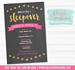 Sleepover Chalkboard Invitation 4 - FREE thank you card included