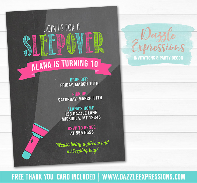 printable chalkboard sleepover birthday invitation - girl slumber party - glamping