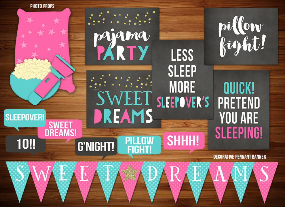 Sleepover Chalkboard Complete Party Package
