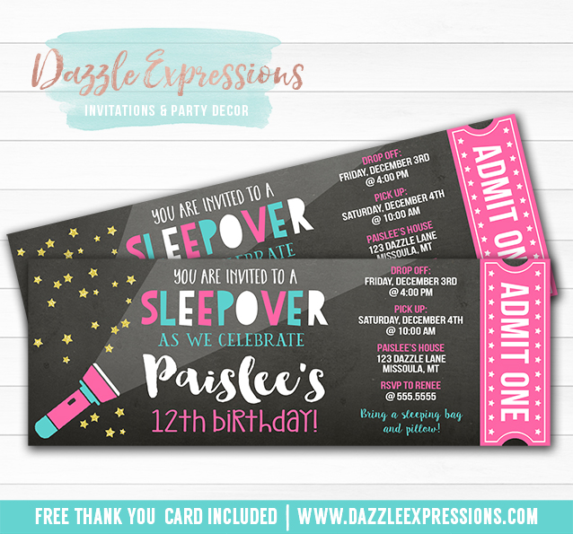 Sleepover Chalkboard Ticket Invitation 1 Free Thank You Card