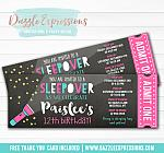 Sleepover Chalkboard Ticket Invitation 1 - FREE thank you card