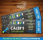 Sleepover Chalkboard Ticket Invitation 3 - FREE thank you card
