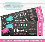 Sleepover Chalkboard Ticket Invitation 4 - FREE thank you card