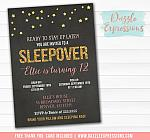 Sleepover Chalkboard Invitation 5 - FREE thank you card included