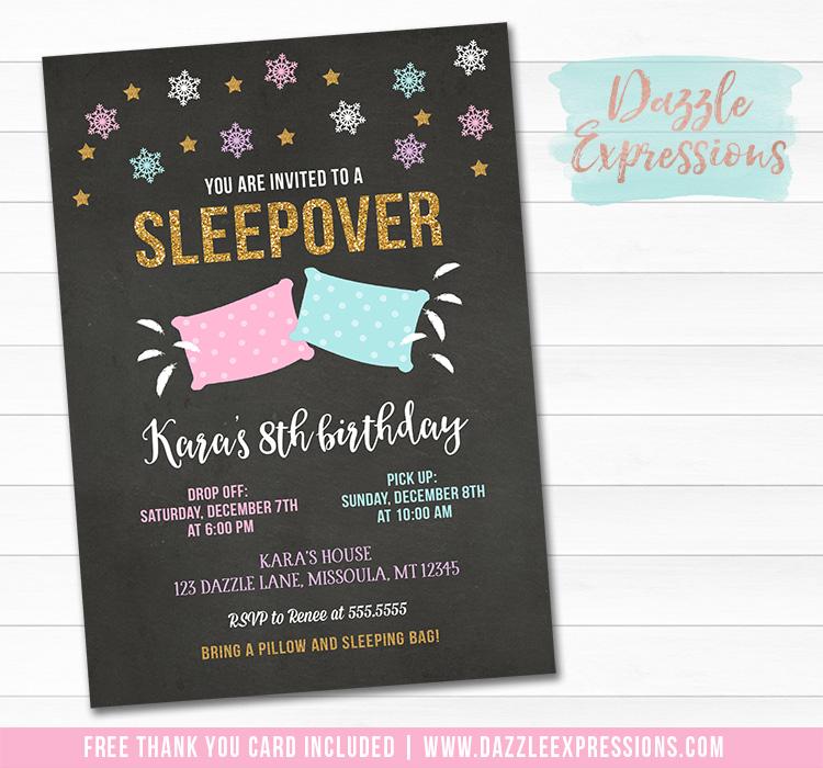 Sleepover Chalkboard Invitation 6 - FREE thank you card