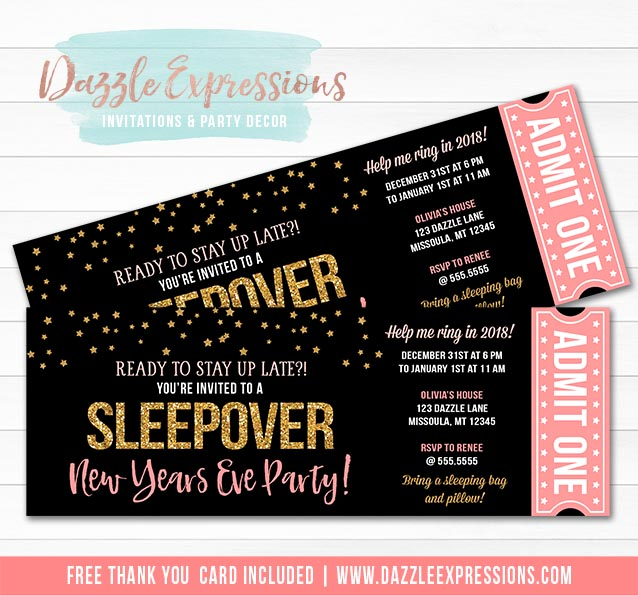 New Years Eve Sleepover Ticket Invitation