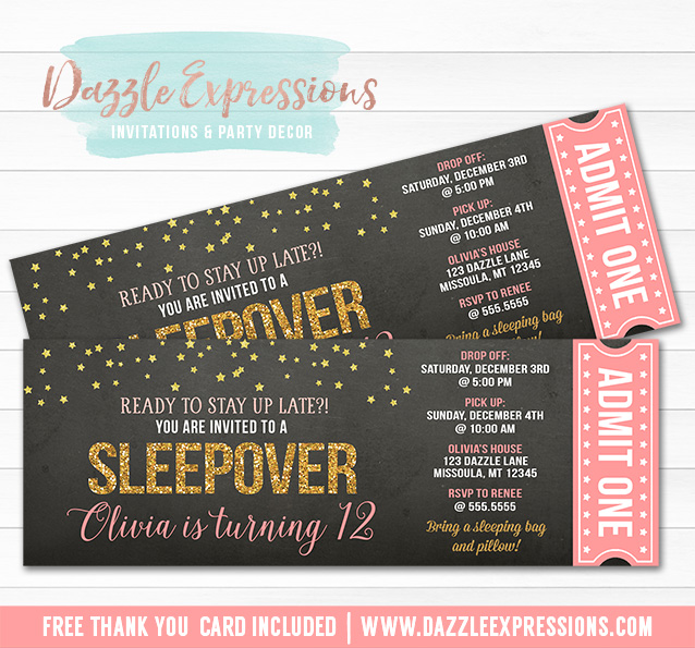 Sleepover Chalkboard Ticket Invitation 5 - FREE thank you card