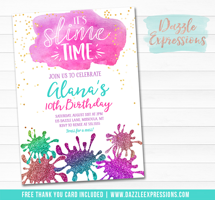 Slime Party Invitation 1 - FREE thank you card