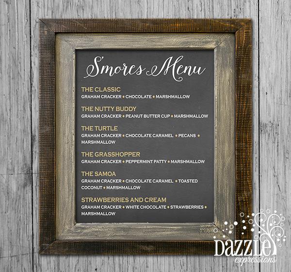 printable s u0026 39 more menu chalkboard poster - bonfire