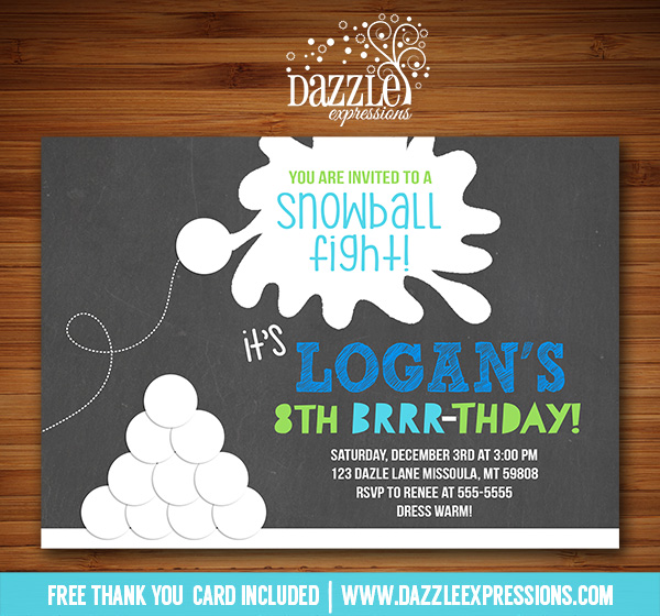 Printable Snowball Fight Chalkboard Birthday Invitation ...