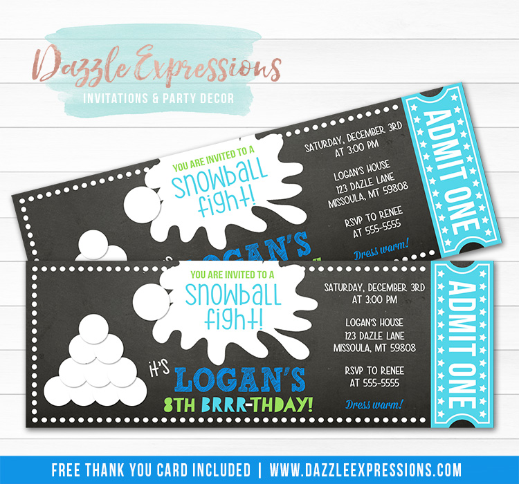 Snowball Chalkboard Ticket Invitation 1 - FREE thank you card included