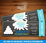 Snowball Chalkboard Ticket Invitation - FREE thank you card included