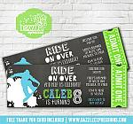 Snowboard Chalkboard Ticket Invitation - FREE thank you card included