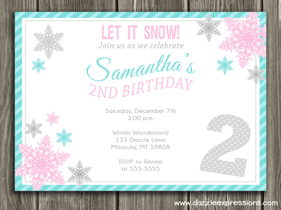 printable pink and teal snowflake birthday party invitation girls