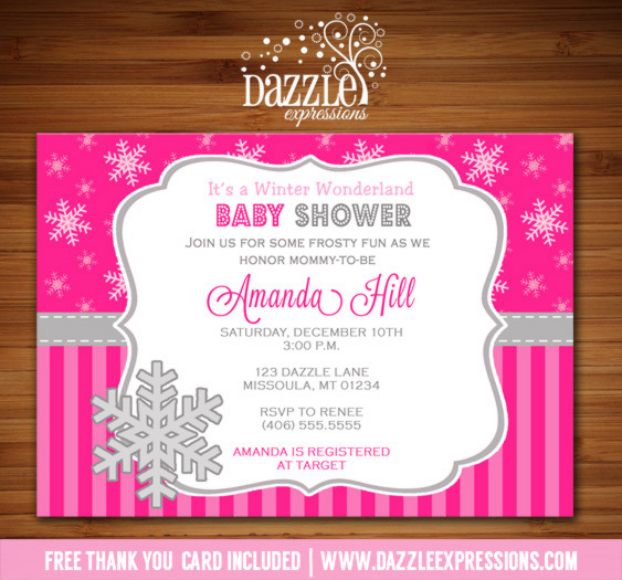 Printable pink winter snowflake baby shower invitation baby girl snowflake baby shower invitation 1 free thank you card included filmwisefo Gallery
