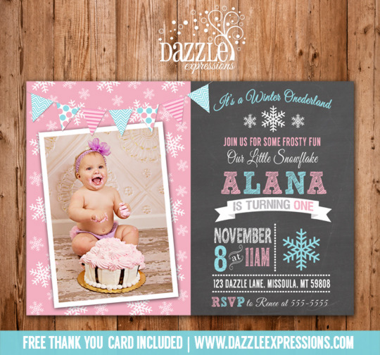Winter Snowflake Chalkboard Birthday Invitation 1 - FREE thank you card included