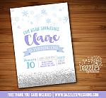 Snowflake Glitter and Watercolor Invitation 1 - FREE thank you card
