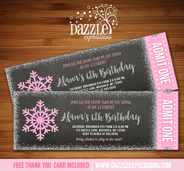 Snowflake Glitter Chalkboard Ticket Invitation 2 - FREE thank you card included