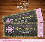 Snowflake Glitter Chalkboard Ticket Invitation 3 - FREE thank you card included