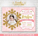 Pink and Gold Snowflake Invitation 5 - FREE thank you card included
