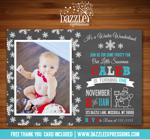 Snowman Chalkboard Birthday Invitation - FREE thank you card included
