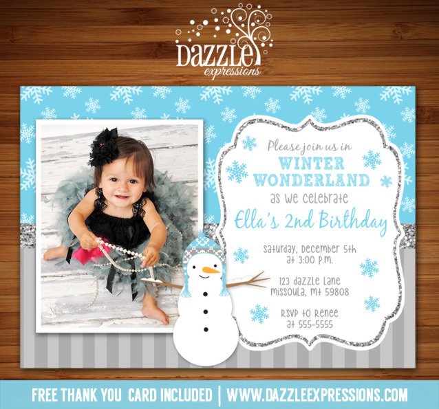 Snowman Glitter Birthday Invitation - FREE thank you card included