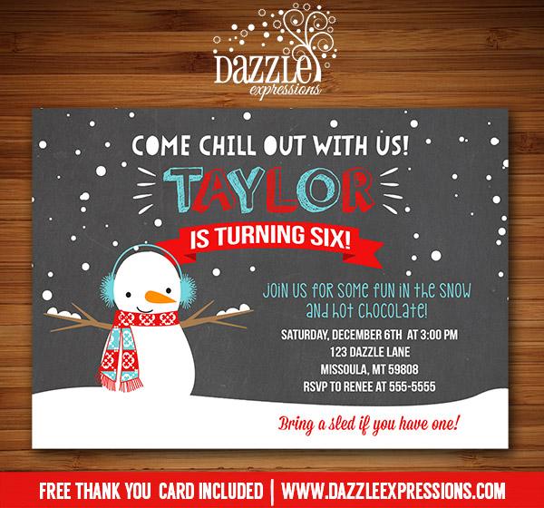 printable winter snowman chalkboard birthday invitation kids snow