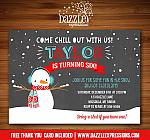 Snowman Chalkboard Birthday Invitation - FREE thank you card