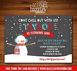 Snowman Chalkboard Birthday Invitation - FREE thank you card