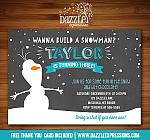 Snowman Chalkboard Birthday Invitation 2 - FREE thank you card