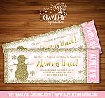 Snowman Pink and Gold Glitter Ticket Invitation - FREE thank you card