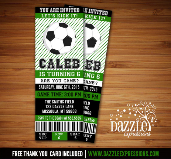 Soccer Ticket Birthday Invitation 2 - FREE thank you card included