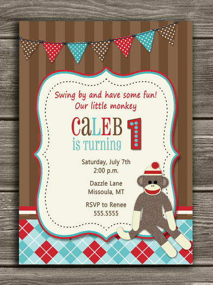 Sock Monkey Birthday Invitation - No Photo - FREE thank you card included