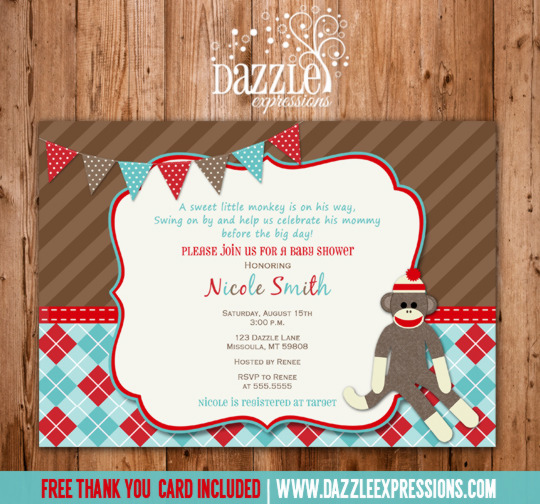 printable sock monkey baby shower invitation  red and aqua argyle, Baby shower